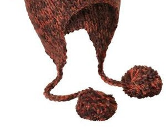 Cat or Bear Hand Knit Eared Beanie 4 Colors to choose from