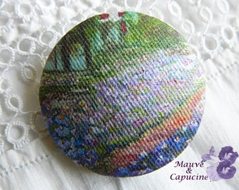 Fabric button, printed Monet