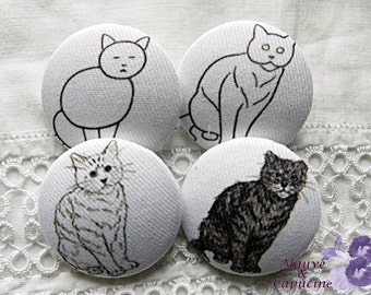 4 fabric buttons, 1.25 in / 32 mm, cats