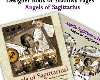 Angels of Sagittarius Astrological Sign Digital Download Art Book of Shadows Pages Two Sigils and Correspondences  for Spells and Magick
