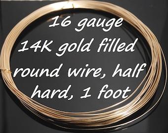 Made in USA 16 gauge 14K gold filled round wire, half hard, one foot