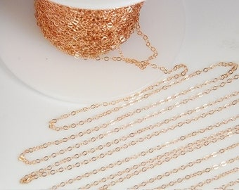 14K rose gold filled flat cable chain, rose gold chain, 1.4mm X 1.8mm link, 28 gauge, 5 feet