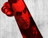 Dracula on mens tie. Gothic horror necktie with Nosferatu vampir. Tie for fan classic horror by Ed Wood, Murnaus.
