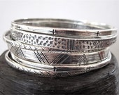 SET OF 6 Handmade Artisan Textured Sterling Silver Bangle Bracelet Set