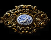 Mermaid / Sea Nymph Cameo on Brass filigree Barrette