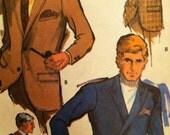 Vintage Mens Jacket Vintage 60s 1969 Pattern Sewing McCalls 9636 Size 40 Single or Double Breasted Jacket Vintage 60s Retro Look Mod Fashion