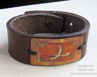 Saturn. Leather Bracelet for Men.