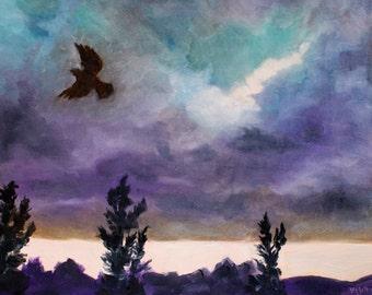 Landscape Oil Painting - Blackbird Stormy Sky - Original Painting bird clouds storm sky - Impressionist - fine art wall art modern