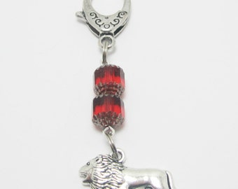 Lion Zipper Purse Pull Red Czech Cathedral Beads Lobster Claw Clasp