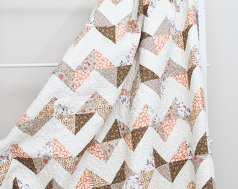 "Soft Floral Earth Tone Chevron Handmade Quilt (73"" x 88"") Twin Size"