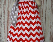 Red Chevron and Gray Polka Dot Pillowcase Dress