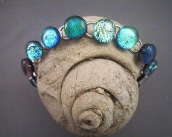 Three Shades of Green Dichroic Bracelet