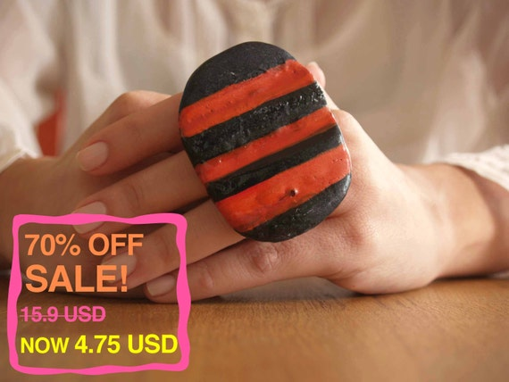 70% OFF! Oversized Striped Ring. Handmade with Ceramic, One of a Kind