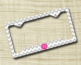 custom personalized license plate frame monogrammed license plate frame chevron light gray pink or any colors