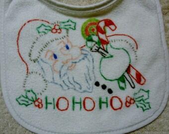Santa Claus Hand Painted Christmas Baby Bib