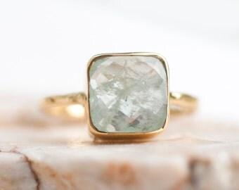 40 0FF - Aquamarine ring - March Birthstone Ring - Gemstone Ring - Stacking Ring - Gold Ring- Cushion Cut Ring