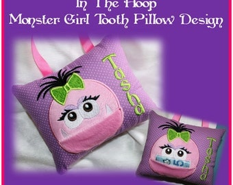 In The Hoop Tooth Fairie Monster Girl Pillow Embroidery Machine Design