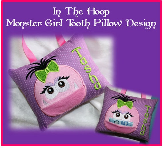 machine embroidery tooth pillow