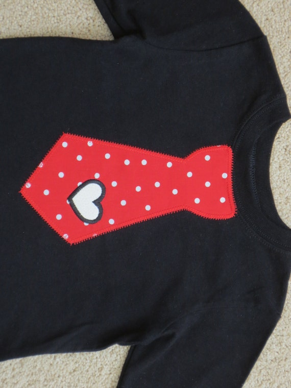 Ready To Ship - Boys 18 mo Long Sleeve Valentines Day Heart Tie Baby Toddler Kids Shirt Black Red