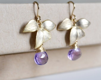 Wild Orchid Gold Earrings, Purple African Amethyst, 14K Gold Filled Hoops, February Birthstone, Gift Under 30