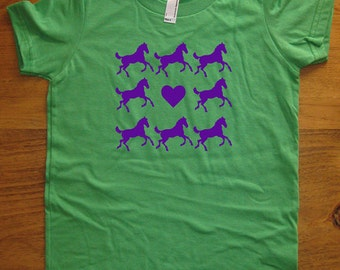 Horse Shirt - Girls Love Horses Shirt - 7 Colors - Kids Tshirt Sizes 2T, 4T, 6, 8, 10, 12 - Gift Friendly