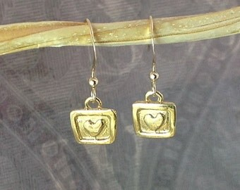 Tiny gold vermeil heart charm square earrings gift for her, everyday jewelry E159