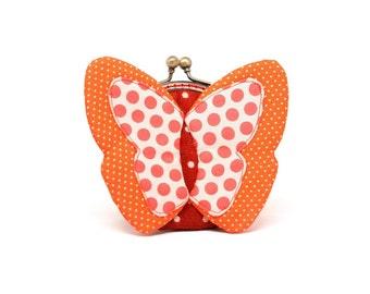 My secret orange butterfly coin purse