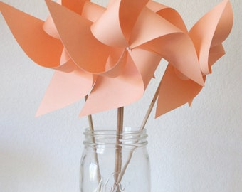 Peach and white Baby Shower Decor Baby Shower Favors Wedding Favors Decor Birthday Favors - 6 Large Paper Pinwheels
