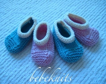 Hand Knit Luxurious Newborn Slippers in Pink or Aqua Cashmere Blend with Ivory Trim