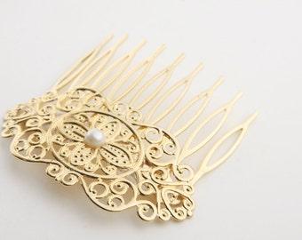 Bridal Hair Comb - Gold Hair Accessories - Bridal Gold Hair Accessories - Wedding Hair Jewelry - Wedding Hair pin - Gold head piece
