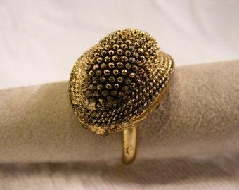 Organic Dome Ring,Tribal, Earthy Adjustable Fashion Ring, Patina Finish