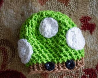 Green Mushroom Newborn Hat