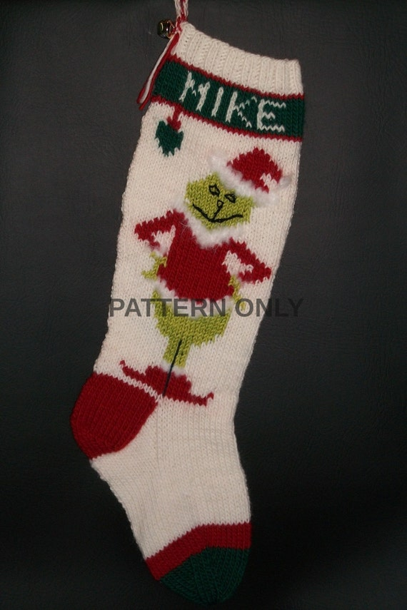 PRINTED Pattern Only Hand Knitted Grinch by knottyneedleworker