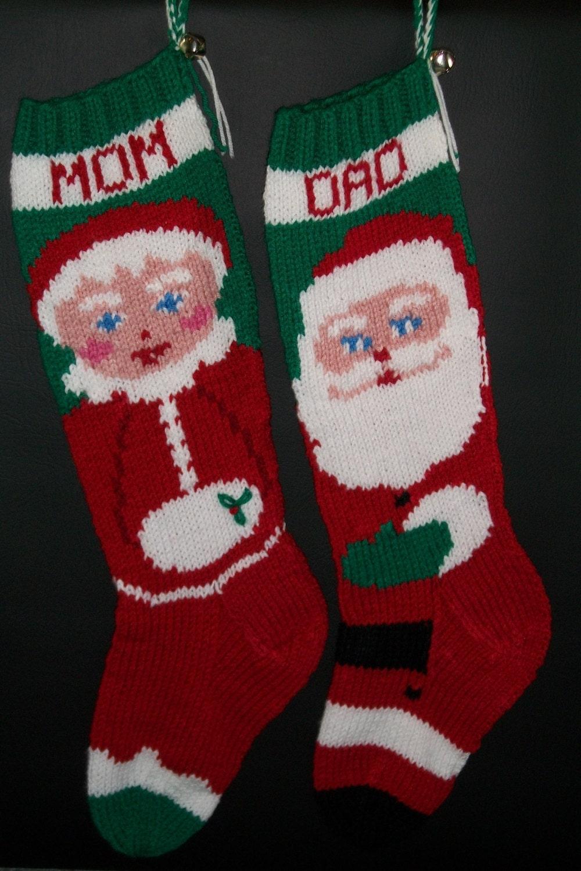 Christmas stockings hand knitted custom order one each santa for Custom made christmas stockings
