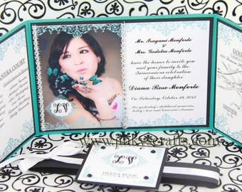 Tiffany Inspired Bag Invitation, Gatefold Wedding Invitation, Quinceañera Custom Invitation, Sweet 16 Gatefold Invitation