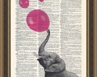 Elephant blowing up hot pink balloons illustration is printed on a vintage dictionary page. Nursery Print, Kids Room Decor, Elephant Print.