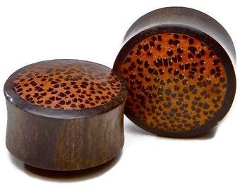 "Ebony Wood Plugs with Palm Wood Inlay 2g, 0g, 00g, 7/16"", 1/2"", 9/16"", 5/8"", 3/4"", 7/8, 1"""