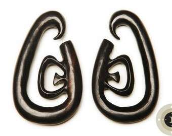 Ebony Wood Hanging Gauged Earrings - 0g, 00g