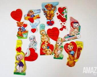 set of 10 vintage 1950s die cut valentines