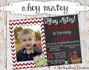 Ahoy Matey! Chevron Pirate Birthday Party Invitation