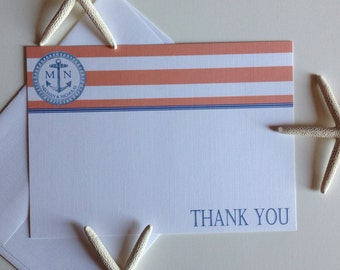 Thank You Anchor Stripe Monogram Flat Note Cards -Nautical Wedding - Quince - Bar Mitzvah - Baby or Bridal Shower - Coral Navy Stripe
