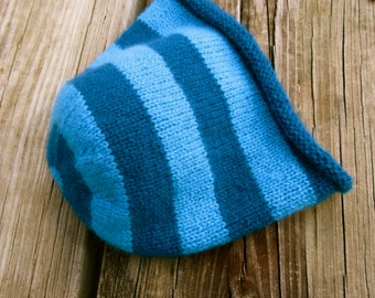 100% cashmere baby beanie in teal & turquoise stripes
