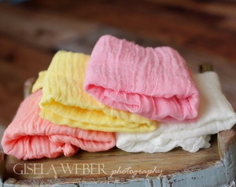 RTS, Set of 4, Newborn Cheesecloth, Peach Cheesecloth Layers, Cheesecloth Wraps, Off White Baby Wrap, Newborn Photo Prop, Pink Newborn Wrap