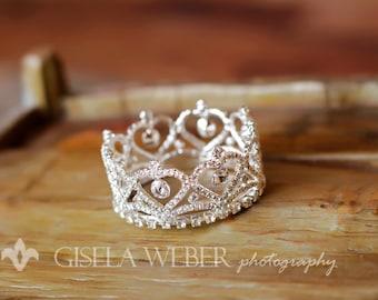 Silver Baby Crown, Newborn Crown, Newborn Rhinestone Crown, Heart Crown, Newborn Photo Prop, Silver Baby Halo
