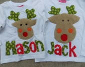 Reindeer Appliqued Christmas Shirt  by Bubblebabys Now for Girls and Boys
