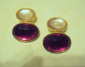 DOUBLE OVAL 60s 70s  80s Lucite Thermoset Vintage Costume Jewelry Earrings Collectible Post Mod