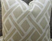 Designer Lumbar Pillow Cover  -  Lumbar, 18 x 18, 20 x 20, 22 x 22 - Lattice Treads Lagoona Beige