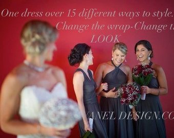 One Dress Endless Styles - INFINITY Bridesmaids Dress  CUSTOM Designed CONVERTIBLE Bridesmaids Dress Long Gray Made to Order