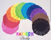 Rainbow Doily paper for Scrapbooks, card making, wedding decoration / pack