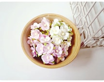 30 Mixed light pink, light yellow & light purple Forget Me Not pastel mulberry flowers / pack